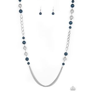 Uptown Talker Blue Pearl and Chain Necklace Set
